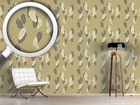 Pattern Wallpaper Gentle Feathers Beige
