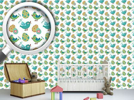 Pattern Wallpaper Sweet Easter eggs and birds