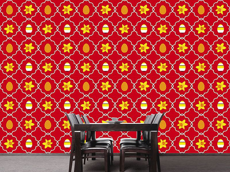 Papier peint design Easter Daffodils Red