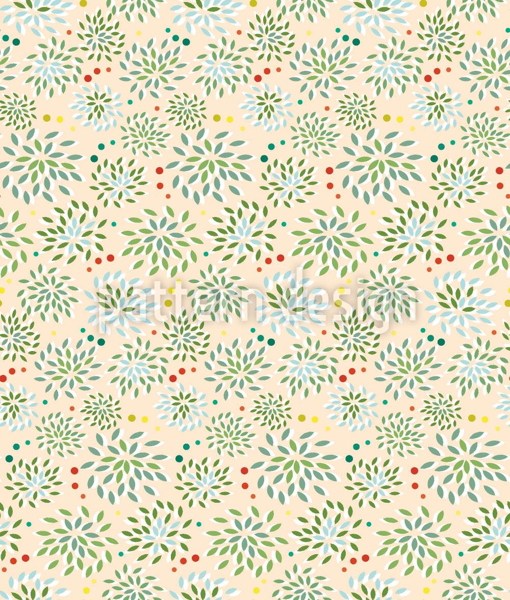 Pattern Wallpaper Bushes And Dots