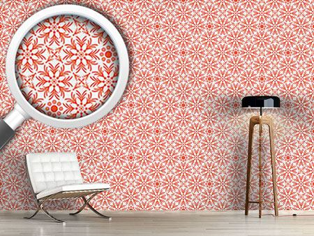 Pattern Wallpaper Orange Flowers