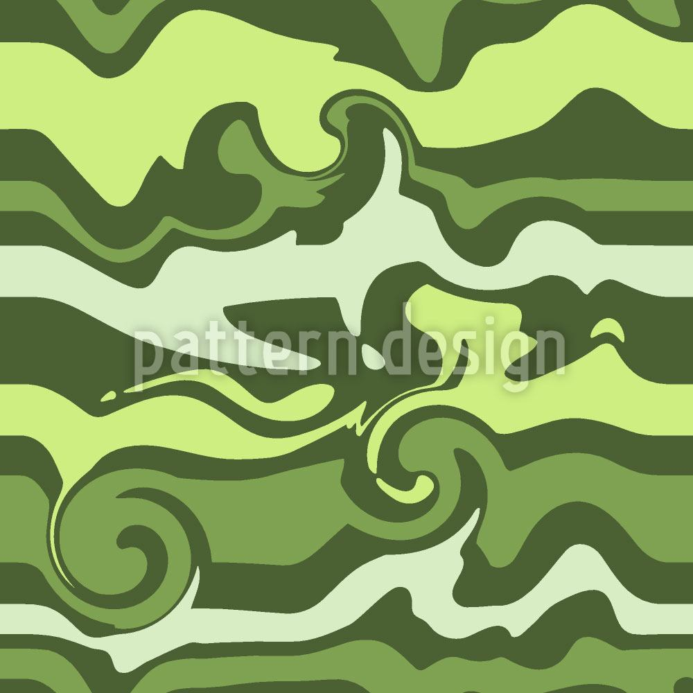 Pattern Wallpaper Green Wave Chaos