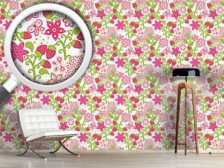 Papier peint design Strawberry Paradise
