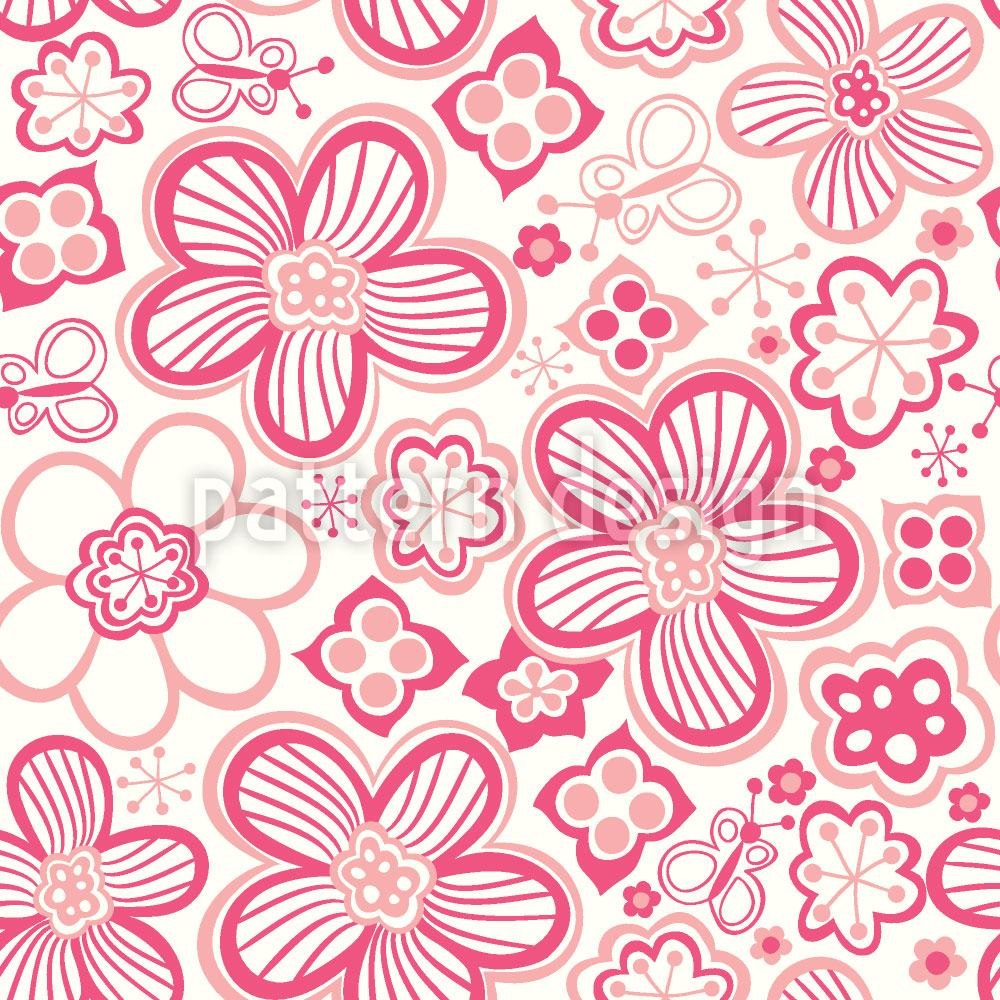 Papier peint design Butterflies Love Candy Flowers