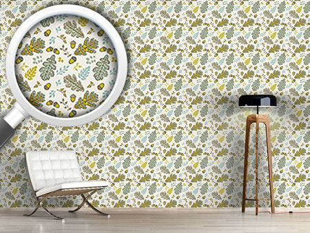 Pattern Wallpaper Acorn And Leaf