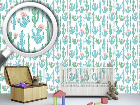Pattern Wallpaper Blooming Cactus