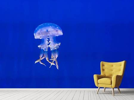 Photo Wallpaper Glowing jellyfish