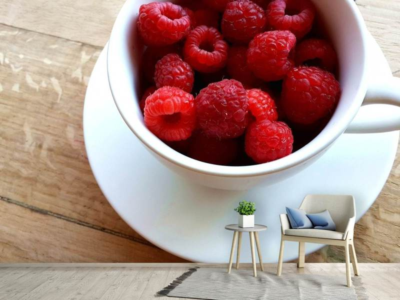 Photo Wallpaper A cup of raspberries