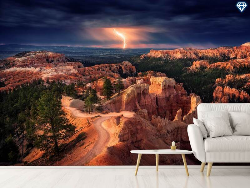 Photo Wallpaper Lightning Over Bryce Canyon