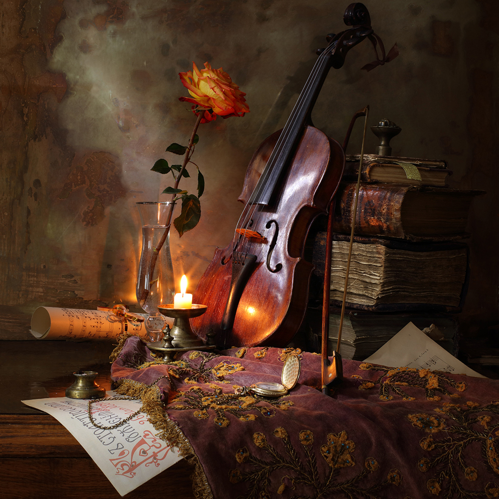 Fototapete Still Life With Violin And Rose