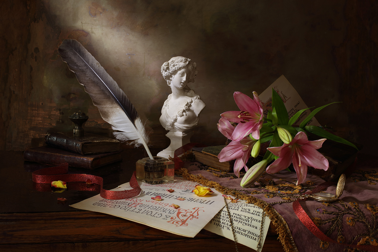 Papier peint photo Still Life With Lily And Bust