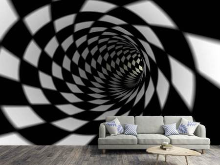 Photo Wallpaper Abstract Tunnel Black & White